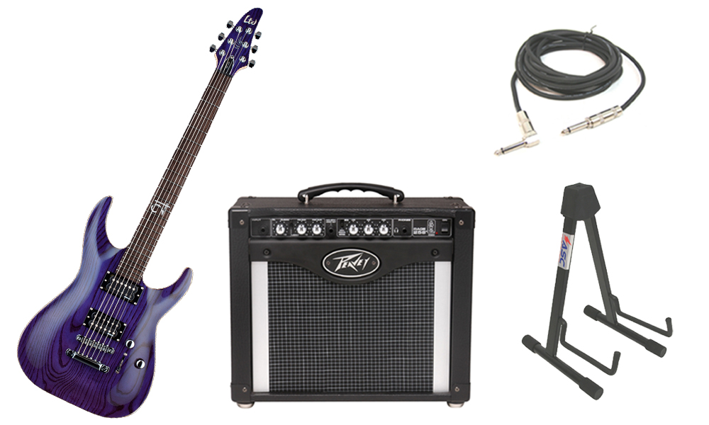 """ESP Signature Rob Caggiano RC-600 Ash Body 6 String Rosewood Fingerboard See Through Purple Electric Guitar with Peavey Rage 258 TransTube Amp, 1/4"""" Cable & Stand"""