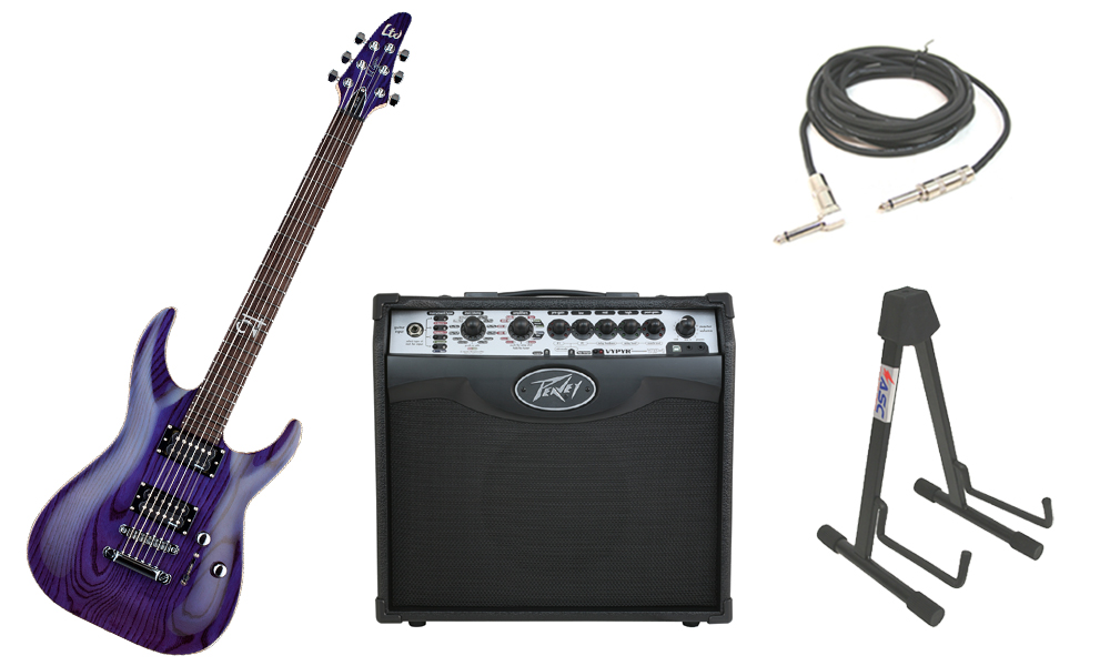 "ESP Signature Rob Caggiano RC-600 Ash Body 6 String Rosewood Fingerboard See Through Purple Electric Guitar with Peavey VIP 1 Modeling Amp, 1/4"" Cable & Stand"