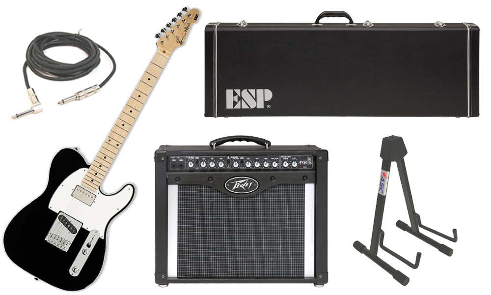 """ESP Signature Ron Wood Alder Body 6 String Maple Fingerboard Black Electric Guitar with Peavey Envoy 110 Tube Amp, 1/4"""" Cable & Stand"""