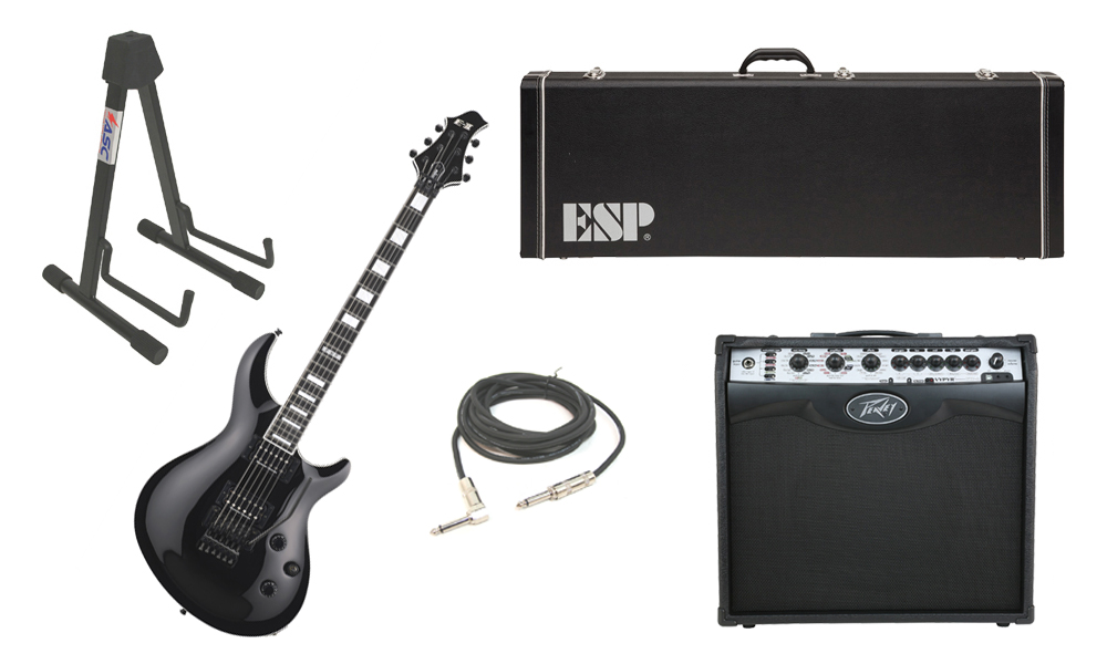 "ESP E-II Mystique Maple Top 6 String Black Electric Guitar with Peavey VIP 2 Modeling Amp, 1/4"" Cable & Stand"