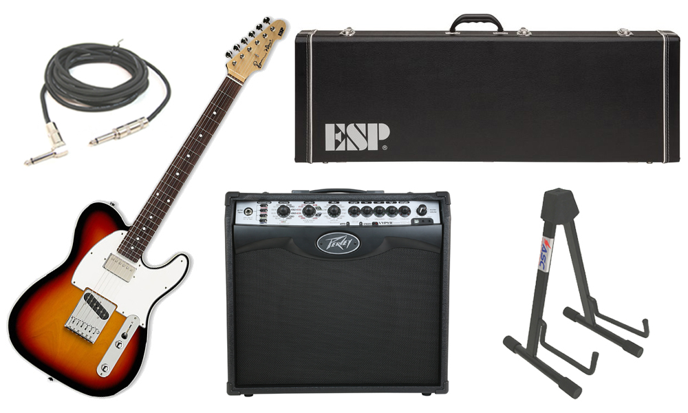 "ESP Signature Ron Wood Alder Body 6 String Maple Fingerboard 3 Tone Burst Electric Guitar with Peavey VIP 2 Modeling Amp, 1/4"" Cable & Stand"
