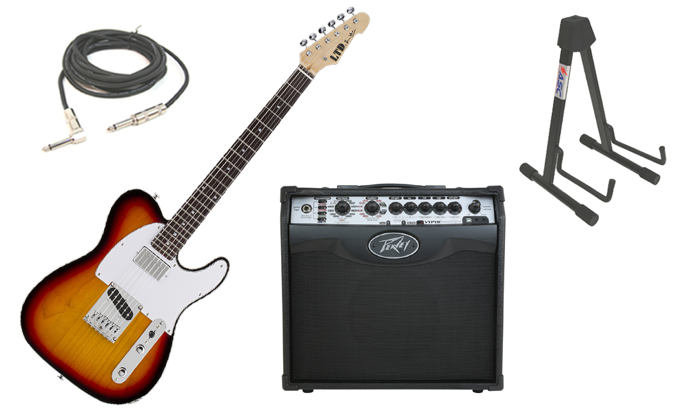 "ESP Signature LTD Ron Wood Alder Body 6 String Rosewood Fingerboard 3 Tone Burst Electric Guitar with Peavey VIP 1 Modeling Amp, 1/4"" Cable & Stand"
