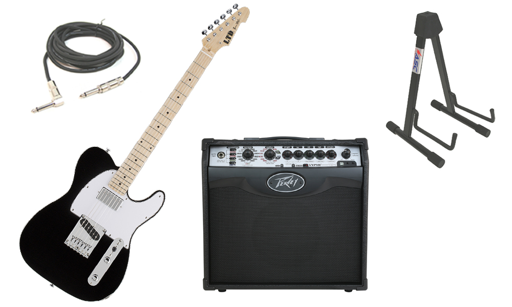 """ESP Signature LTD Ron Wood Alder Body 6 String Maple Fingerboard Black Electric Guitar with Peavey VIP 1 Modeling Amp, 1/4"""" Cable & Stand"""