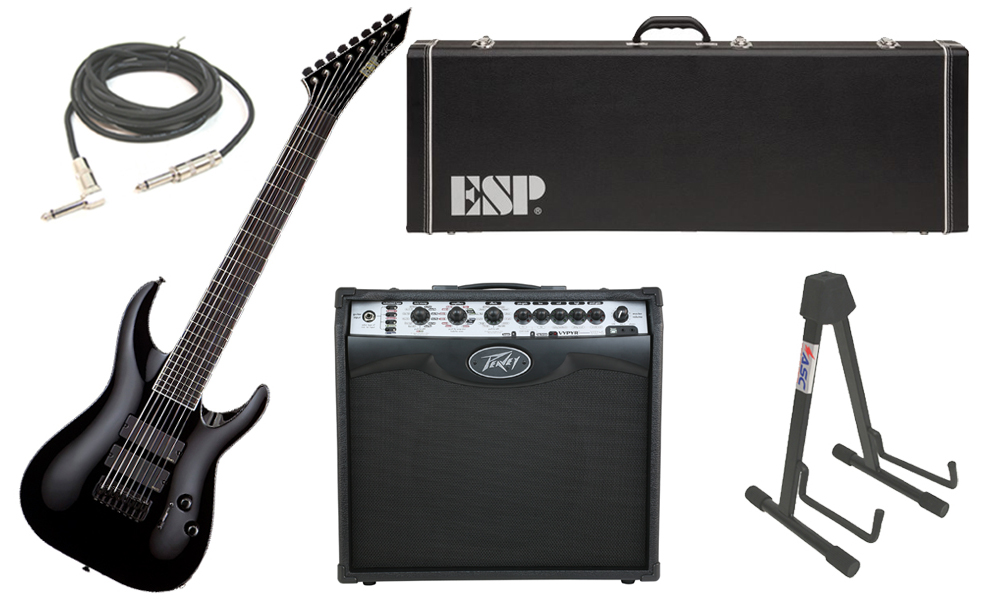 "ESP Signature Stephen Carpenter STEF B-8 Alder Body 8 String Ebony Fingerboard Black Electric Guitar with Peavey VIP 2 Modeling Amp, 1/4"" Cable & Stand"