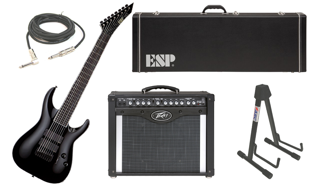"ESP Signature Stephen Carpenter STEF B-8 Alder Body 8 String Ebony Fingerboard Black Electric Guitar with Peavey Envoy 110 Tube Amp, 1/4"" Cable & Stand"