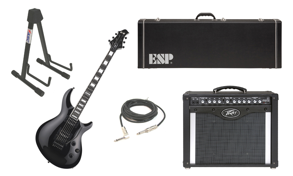 """ESP E-II Mystique Maple Top 6 String Black Electric Guitar with Peavey Envoy 110 Tube Amp, 1/4"""" Cable & Stand"""