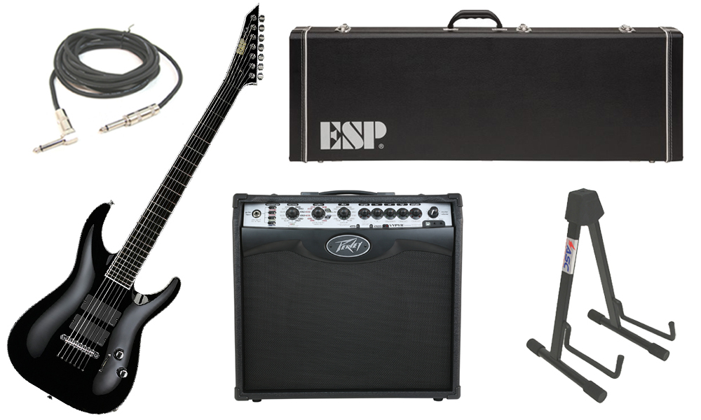 "ESP Signature Stephen Carpenter STEF B-7 Alder Body 7 String Ebony Fingerboard Black Electric Guitar with Peavey VIP 2 Modeling Amp, 1/4"" Cable & Stand"