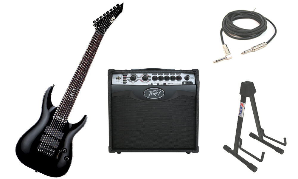 """ESP Signature Stephen Carpenter SC-608B Alder Body 8 String Rosewood Fingerboard Black Electric Guitar with Peavey VIP 1 Modeling Amp, 1/4"""" Cable & Stand"""