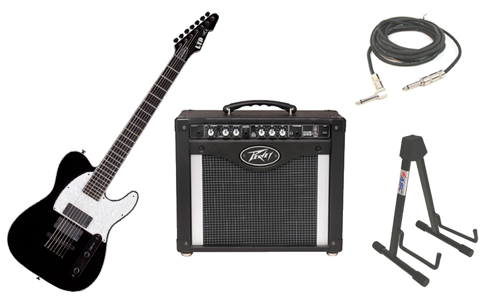 """ESP Signature Stephen Carpenter SCT-607B Alder Body 7 String Rosewood Fingerboard Black Electric Guitar with Peavey Rage 258 TransTube Amp, 1/4"""" Cable & Stand"""