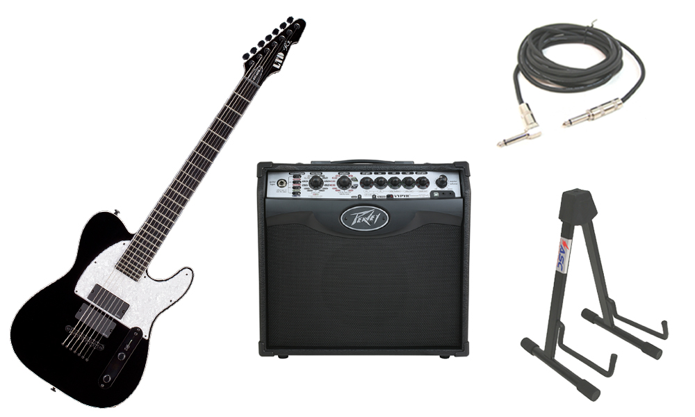 """ESP Signature Stephen Carpenter SCT-607B Alder Body 7 String Rosewood Fingerboard Black Electric Guitar with Peavey VIP 1 Modeling Amp, 1/4"""" Cable & Stand"""