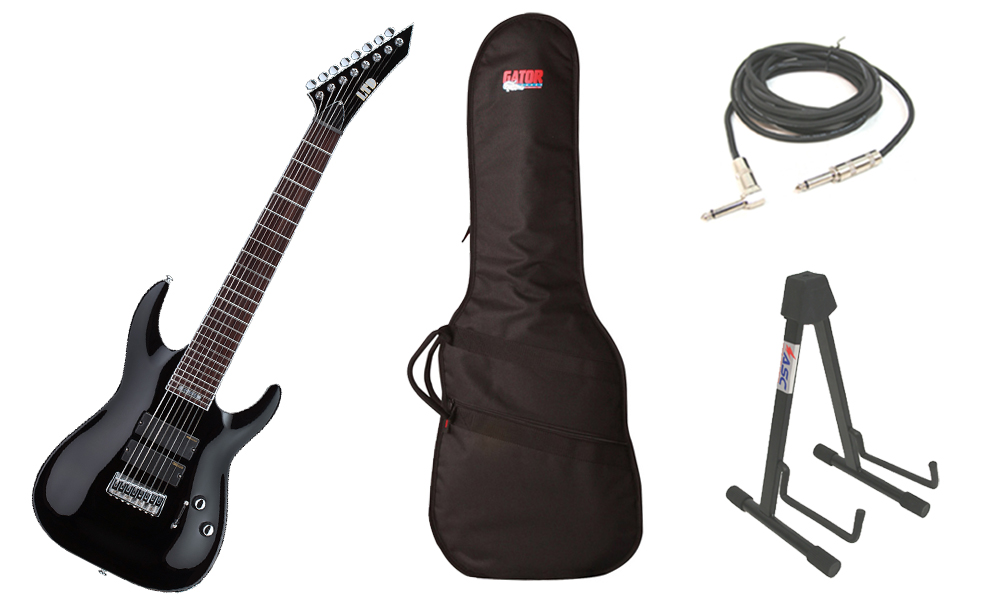 """ESP Signature Stephen Carpenter SC-338 Basswood Body 8 String Rosewood Fingerboard Black Electric Guitar with Travel Gig Bag, Stand & 1/4"""" Cable"""
