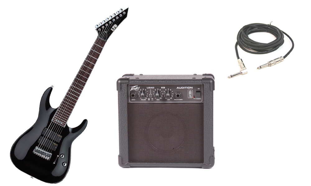 """ESP Signature Stephen Carpenter SC-338 Basswood Body 8 String Rosewood Fingerboard Black Electric Guitar with Peavey Audition Practice Amp & 1/4"""" Cable"""