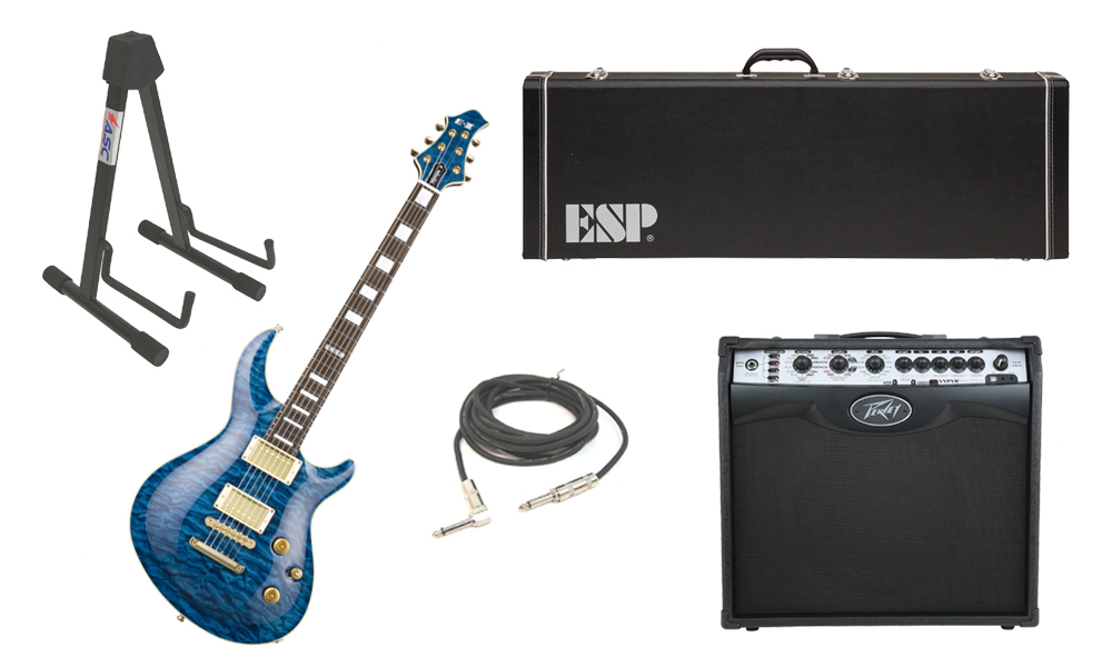 """ESP E-II Mystique Quilted Maple Top 6 String Marine Blue Electric Guitar with Peavey VIP 2 Modeling Amp, 1/4"""" Cable & Stand"""