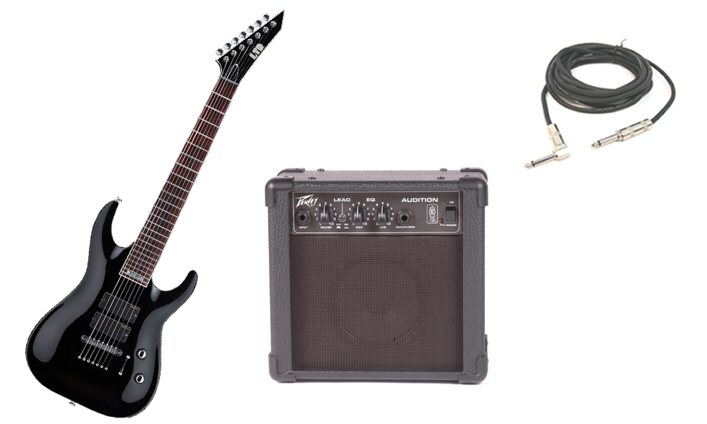 """ESP Signature Stephen Carpenter SC-337 Basswood Body 7 String Rosewood Fingerboard Black Electric Guitar with Peavey Audition Practice Amp & 1/4"""" Cable"""