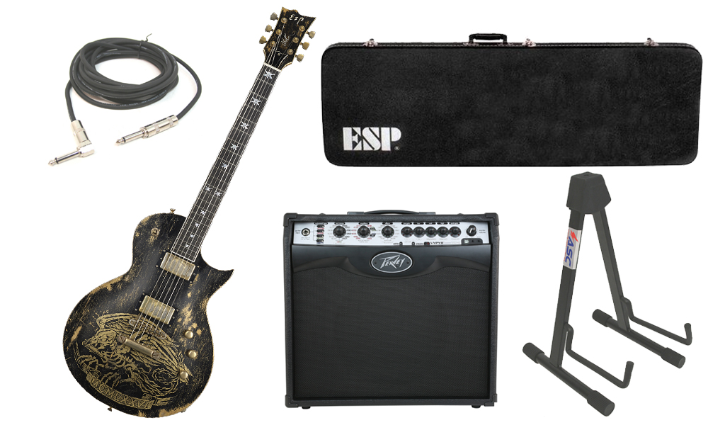 """ESP Signature Will Adler Warbird Mahogany Body 6 String Ebony Fingerboard Distressed Black Electric Guitar with Peavey VIP 2 Modeling Amp, 1/4"""" Cable & Stand"""