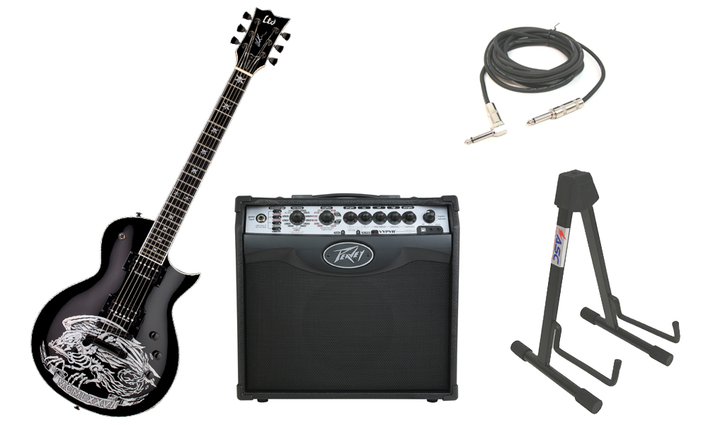 """ESP Signature Will Adler Warbird Mahogany Body 6 String Ebony Fingerboard Black Electric Guitar with Peavey VIP 1 Modeling Amp, 1/4"""" Cable & Stand"""