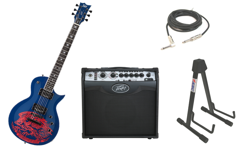 """ESP Signature Will Adler Warbird Mahogany Body 6 String Ebony Fingerboard Navy Blue Electric Guitar with Peavey VIP 1 Modeling Amp, 1/4"""" Cable & Stand"""