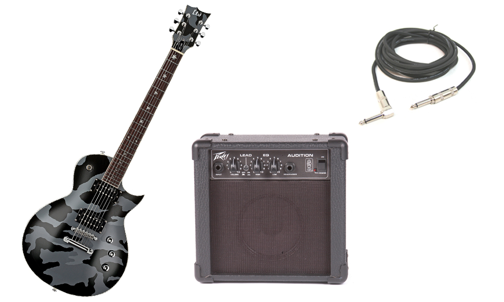 """ESP Signature Will Adler WA-200 Basswood Body 6 String Rosewood Fingerboard Black Camo Electric Guitar with Peavey Audition Practice Amp & 1/4"""" Cable"""