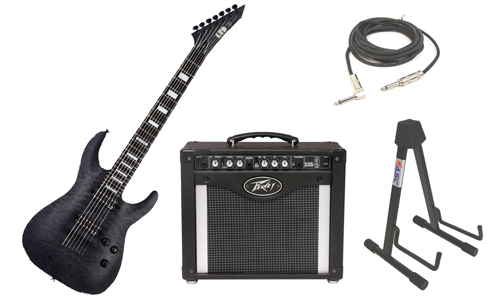 "ESP Signature Zach Householder ZH-7 Quilted Maple Body 7 String Ebony Fingerboard See Through Black Electric Guitar with Peavey Rage 258 TransTube Amp, 1/4"" Cable & Stand"