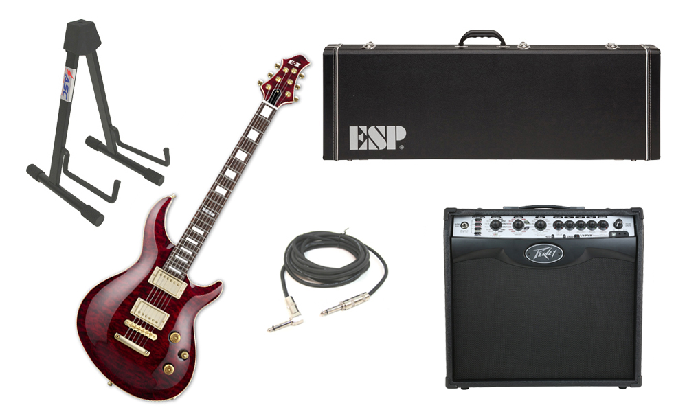 "ESP E-II Mystique Quilted Maple Top 6 String See Through Black Cherry Electric Guitar with Peavey VIP 2 Modeling Amp, 1/4"" Cable & Stand"