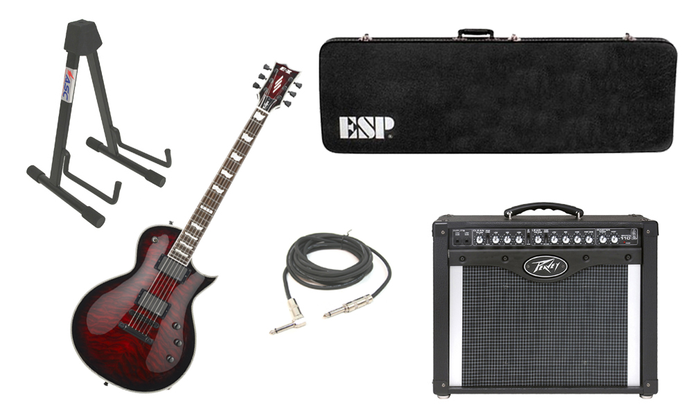 """ESP E-II Eclipse Quilted Maple Top 6 String See Through Black Cherry Sunburst Electric Guitar with Peavey Envoy 110 Tube Amp, 1/4"""" Cable & Stand"""