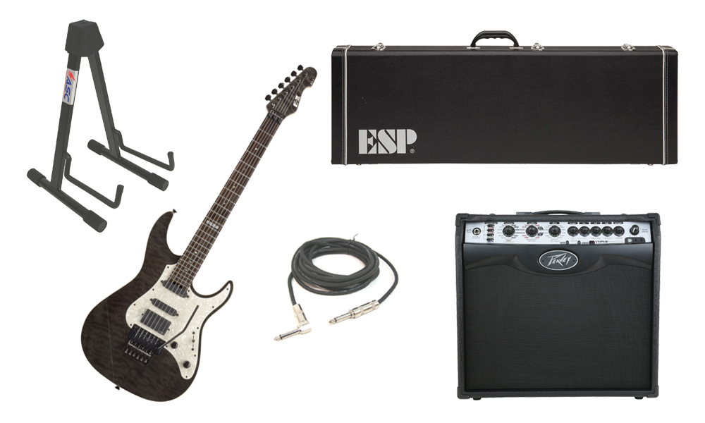 "ESP E-II ST-1 SERIES Quilted Maple Top 6 String Black See Through Electric Guitar with Peavey VIP 2 Modeling Amp, 1/4"" Cable & Stand"