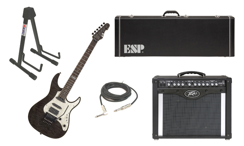 """ESP E-II ST-1 SERIES Quilted Maple Top 6 String Black See Through Electric Guitar with Peavey Envoy 110 Tube Amp, 1/4"""" Cable & Stand"""