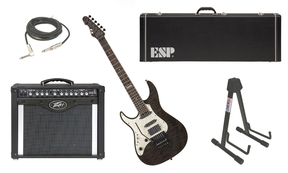 """ESP E-II ST-1 SERIES Quilted Maple Top 6 String Black See Through (Left Hand) Electric Guitar with Peavey Envoy 110 Tube Amp, 1/4"""" Cable & Stand"""