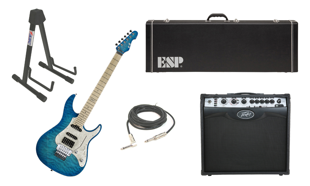 """ESP E-II ST-1 SERIES Quilted Maple Top 6 String Aqua Marine Electric Guitar with Peavey VIP 2 Modeling Amp, 1/4"""" Cable & Stand"""