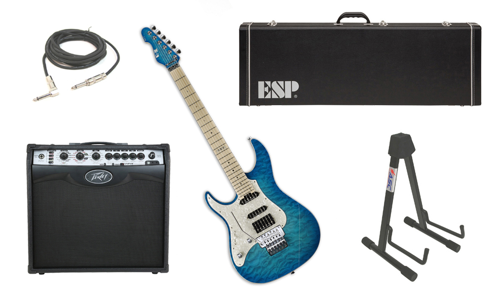 "ESP E-II ST-1 SERIES Quilted Maple Top 6 String Aqua Marine (Left Hand) Electric Guitar with Peavey VIP 2 Modeling Amp, 1/4"" Cable & Stand"