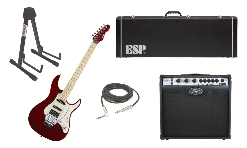 """ESP E-II ST-1 SERIES Quilted Maple Top 6 String See Through Black Cherry Electric Guitar with Peavey VIP 2 Modeling Amp, 1/4"""" Cable & Stand"""