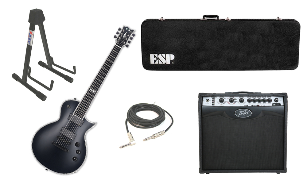 esp e ii eclipse maple top 7 string black satin electric guitar with peavey vip 2 modeling amp. Black Bedroom Furniture Sets. Home Design Ideas