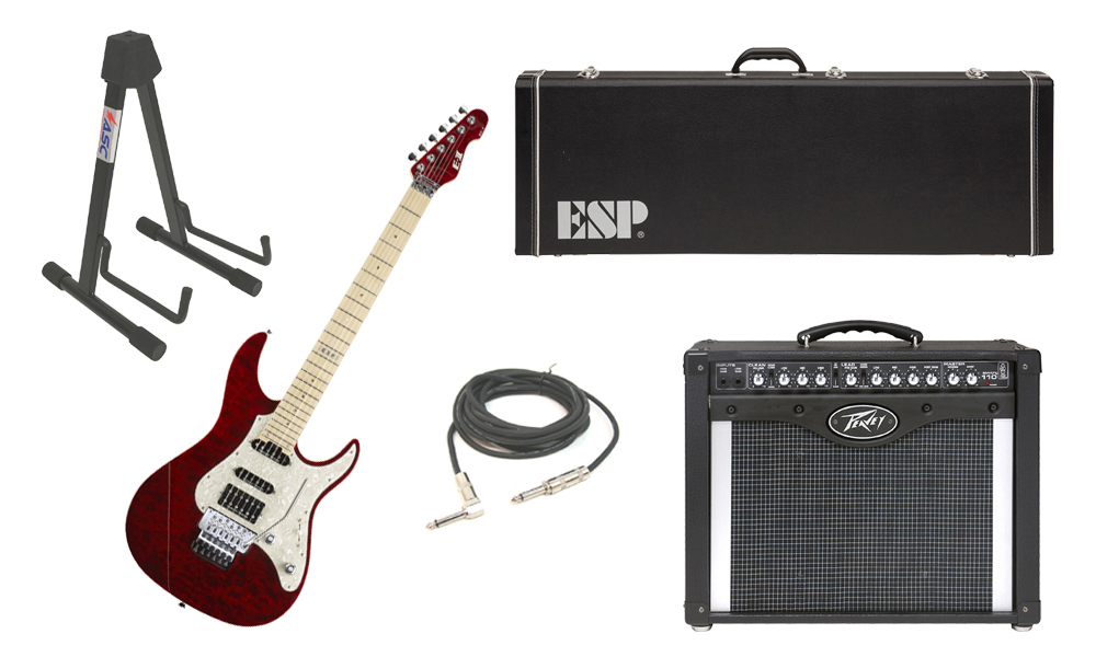 """ESP E-II ST-1 SERIES Quilted Maple Top 6 String See Through Black Cherry Electric Guitar with Peavey Envoy 110 Tube Amp, 1/4"""" Cable & Stand"""