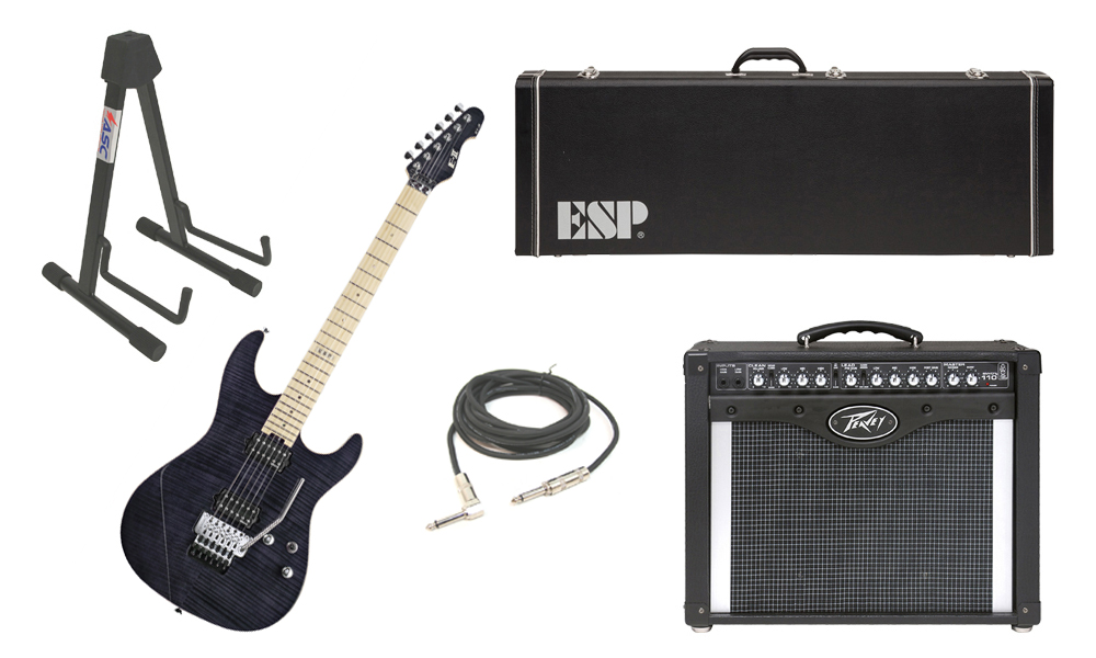 """ESP E-II ST-2 SERIES Flamed Maple Top 6 String See Through Black Electric Guitar with Peavey Envoy 110 Tube Amp, 1/4"""" Cable & Stand"""