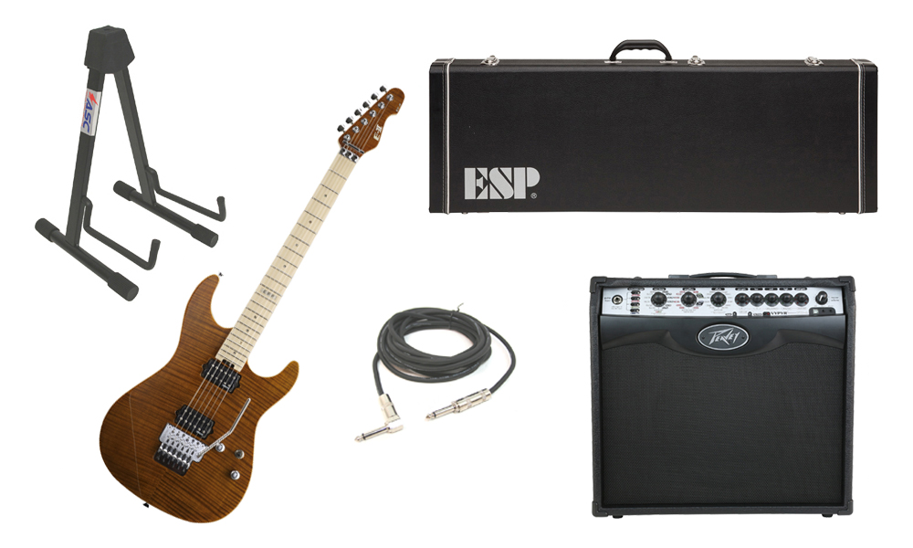 """ESP E-II ST-2 SERIES Flamed Maple Top 6 String Tiger Eye Electric Guitar with Peavey VIP 2 Modeling Amp, 1/4"""" Cable & Stand"""