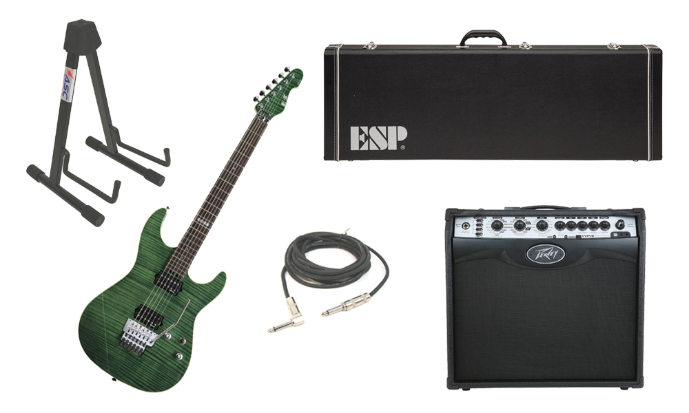 "ESP E-II ST-2 SERIES Flamed Maple Top 6 String Emerald Green Electric Guitar with Peavey VIP 2 Modeling Amp, 1/4"" Cable & Stand"