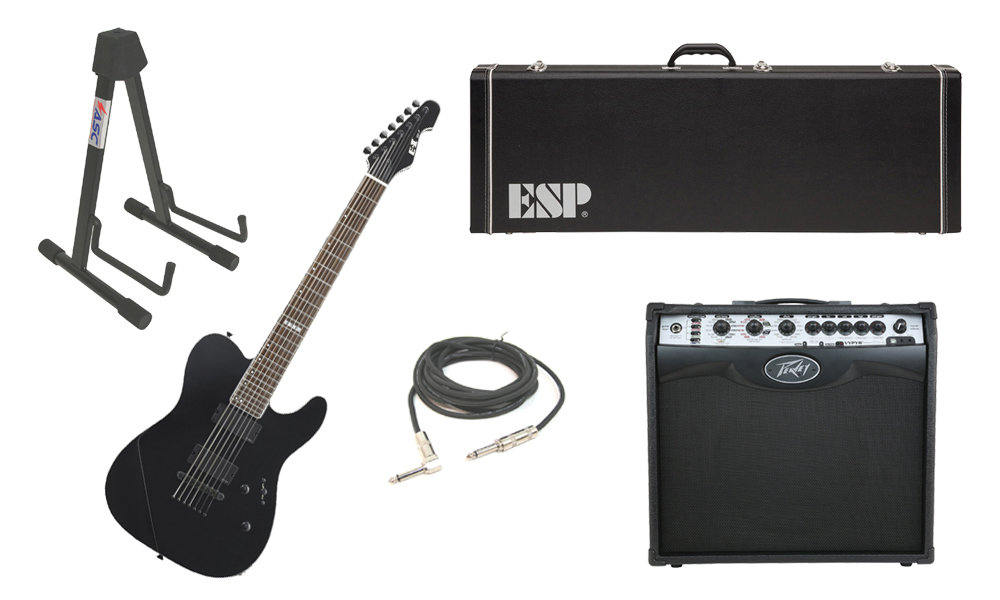 """ESP E-II TE Series TE-7 Maple Top 7 String Black Electric Guitar with Peavey VIP 2 Modeling Amp, 1/4"""" Cable & Stand"""