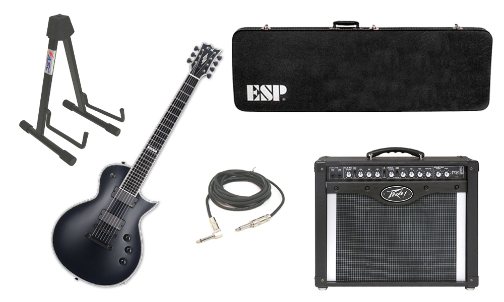 """ESP E-II Eclipse Maple Top 7 String Black Satin Electric Guitar with Peavey Envoy 110 Tube Amp, 1/4"""" Cable & Stand"""