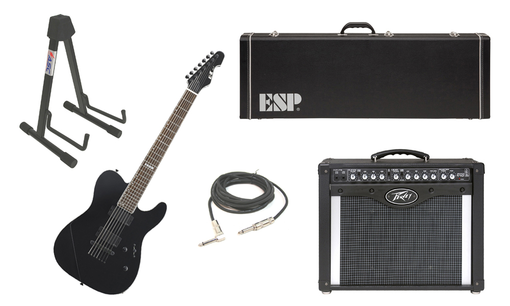 """ESP E-II TE Series TE-7 Maple Top 7 String Black Electric Guitar with Peavey Envoy 110 Tube Amp, 1/4"""" Cable & Stand"""