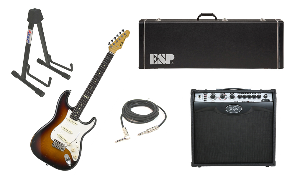 """ESP E-II Vintage Maple Top 6 String 3 Tone Burst Electric Guitar with Peavey VIP 2 Modeling Amp, 1/4"""" Cable & Stand"""