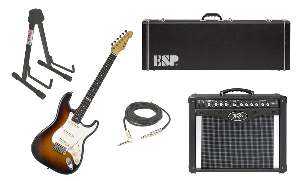 "ESP E-II Vintage Maple Top 6 String 3 Tone Burst Electric Guitar with Peavey Envoy 110 Tube Amp, 1/4"" Cable & Stand"