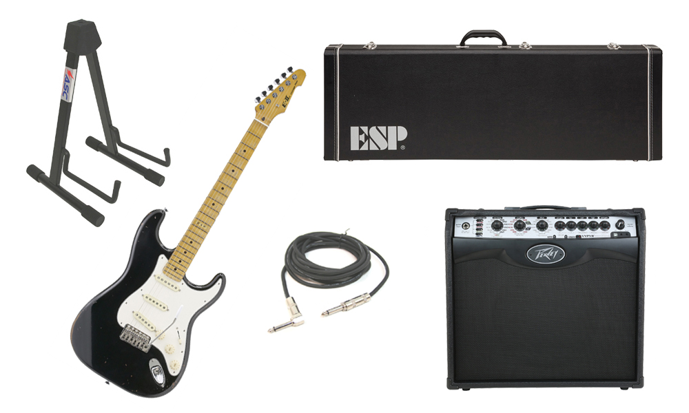 """ESP E-II Vintage Maple Top 6 String Black Electric Guitar with Peavey VIP 2 Modeling Amp, 1/4"""" Cable & Stand"""