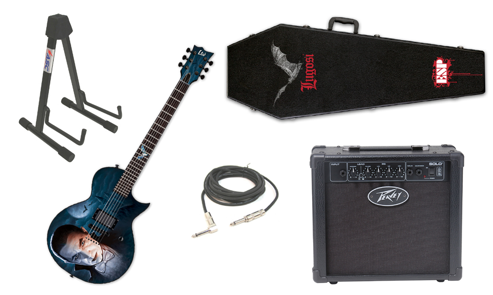 """ESP LTD Graphic Series Bela Lugosi Dracula 6 String Electric Guitar with Peavey Solo Portable Amp, 1/4"""" Cable & Stand"""