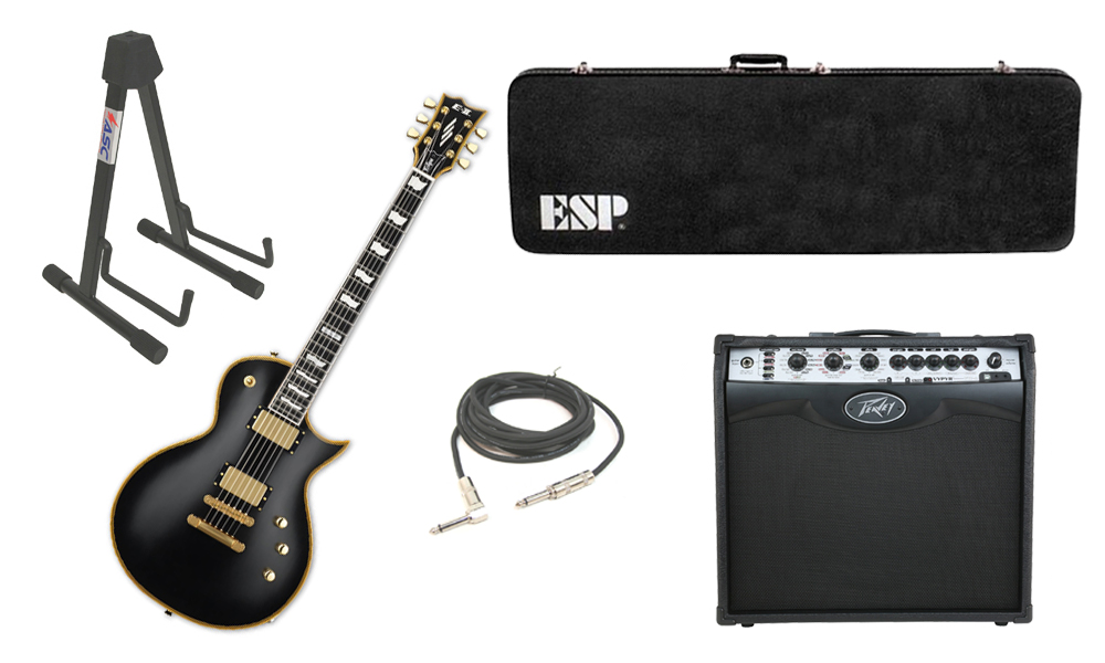 "ESP E-II Eclipse Maple Top 6 String Vintage Black Electric Guitar with Peavey VIP 2 Modeling Amp, 1/4"" Cable & Stand"
