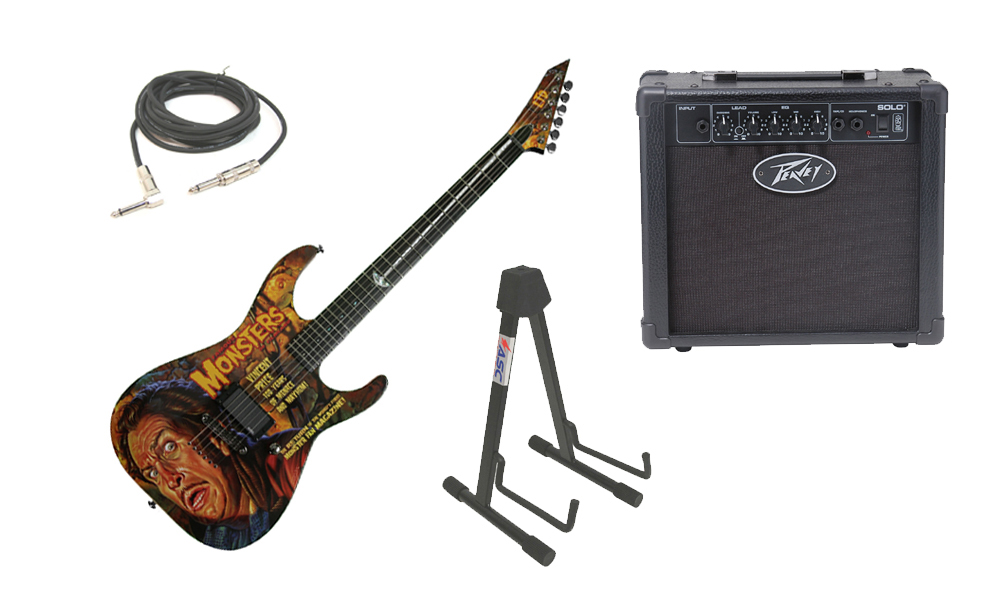 """ESP LTD Graphic Series Famous Monster Vincent Price 6 String Electric Guitar with Peavey Solo Portable Amp, 1/4"""" Cable & Stand"""