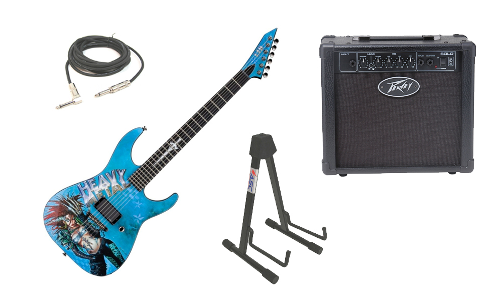 "ESP LTD Graphic Series Heavy Metal 6 String Electric Guitar with Peavey Solo Portable Amp, 1/4"" Cable & Stand"