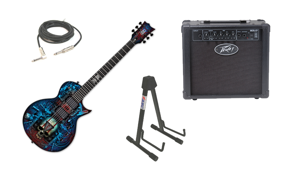 "ESP LTD Graphic Series EC Vampire Bio Tech 6 String Electric Guitar with Peavey Solo Portable Amp, 1/4"" Cable & Stand"