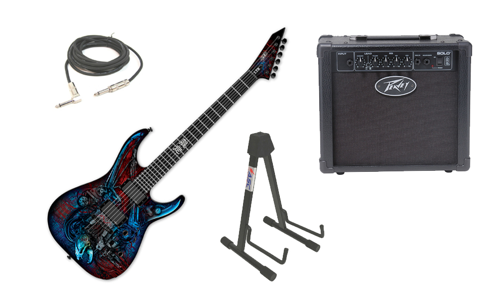 """ESP LTD Graphic Series M Vampire Bio Tech 6 String Electric Guitar with Peavey Solo Portable Amp, 1/4"""" Cable & Stand"""