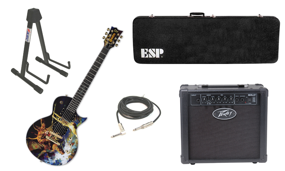 "ESP LTD Graphic Series EC Frank Frazetta 6 String Electric Guitar with Peavey Solo Portable Amp, 1/4"" Cable & Stand"