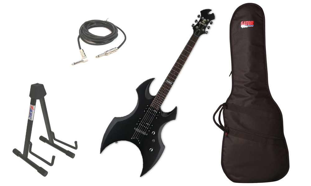 """ESP LTD AX-50 Series 6 String Basswood Body Black Satin Electric Guitar with Travel Gig Bag, Stand & 1/4"""" Cable"""
